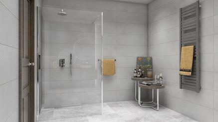 Szara łazienka z nowoczesną kabiną prysznicową