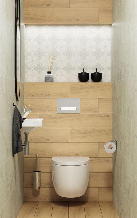 Toaleta wykończona w drewnie i patchworku