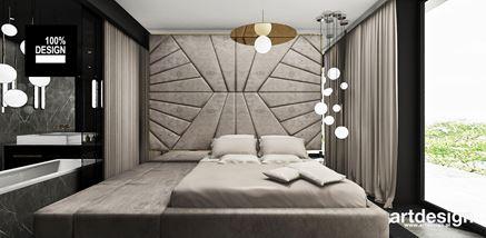 Luksusowe łóżko z leżanką i tapicerowaną ścianą wezgłowia