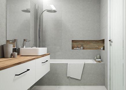 Szara łazienka z drewnianymi akcentami