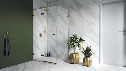 Łazienka wykończona marmurem Opoczno Calacatta Gold