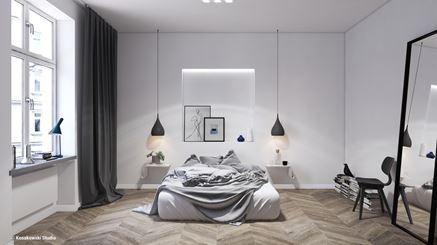 Ciepła, skandynawska sypialnia