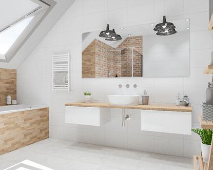 Łazienka na poddaszu w drewnie