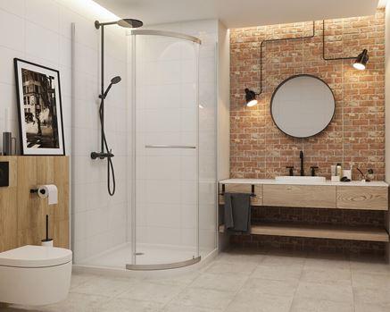 Połączenie bieli i cegły w łazience - Paradyż Loft