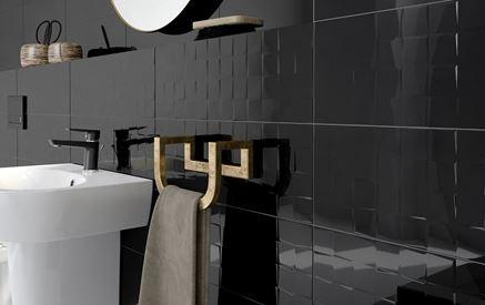 Czarna ściana strukturalna Cersanit Simple Art