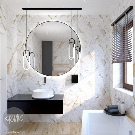 Dekoracyjna ściana w jasnej łazience