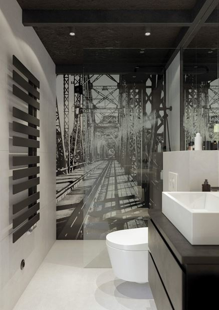 Prysznic z czarno-białą fototapetą