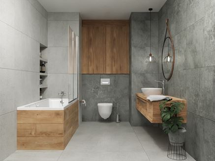 Aranżacja szarej łazienki z drewnianymi akcentami
