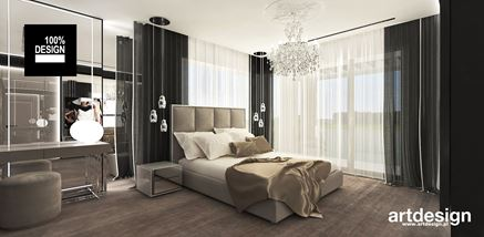 Ciepła sypialnia w stylu glam