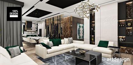 Salon glamour ze złotem i zielonymi dodatkami