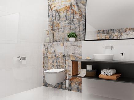 Minimalistyczna łazienka z ozdobną ścianą Azario Blustone