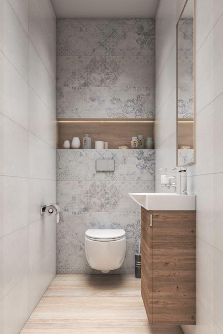 Jasna toaleta z patchworkowymi dekorami