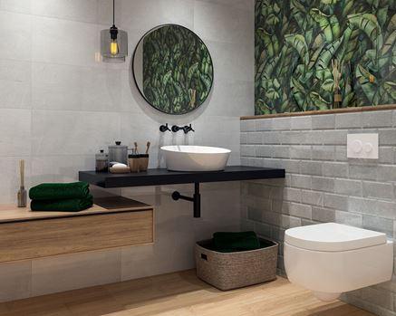 Szara łazienka z ozdobnymi, zielonymi insertami Paradyż Natura/Naturo