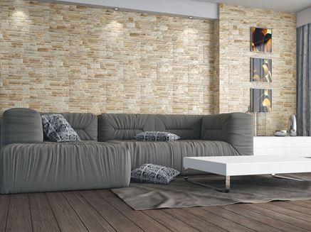 Salon z dekoracyjną ścianą z kamienia Cerrad Canella