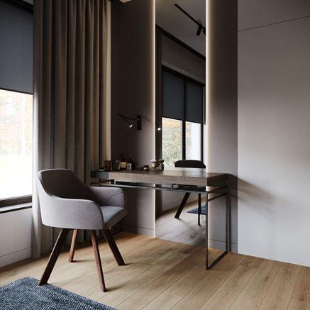 Kącik do pracy w minimalistycznej sypialni