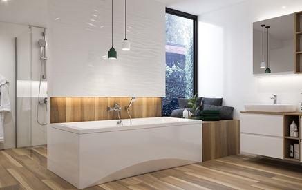 Nowoczesna łazienka z drewnianymi wykończeniami