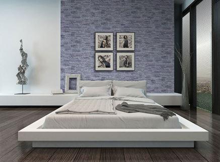 Ściana w sypialni z szarym kamieniem Stone Master Odessa