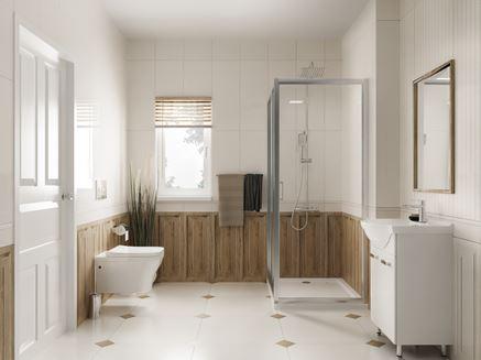 Biel i drewno w klasycznej aranżacji łazienki