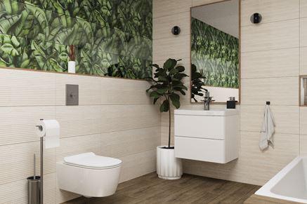 Aranżacja beżowej łazienki z dekoracyjną ścianą z motywem florystycznym
