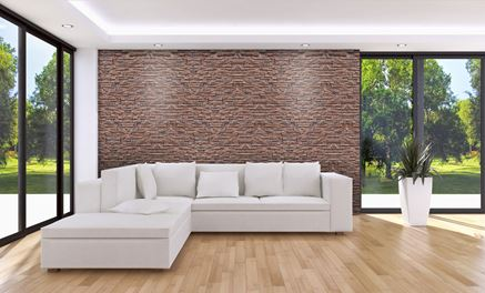 Nowoczesny salon z kamienną ścianą Stone Master Odessa