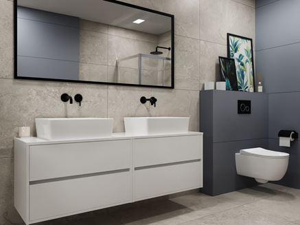 Szara łazienka z białymi meblami i ceramiką