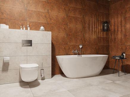 Aranżacja łazienki z płytkami w kolorze szarym i karmelowym