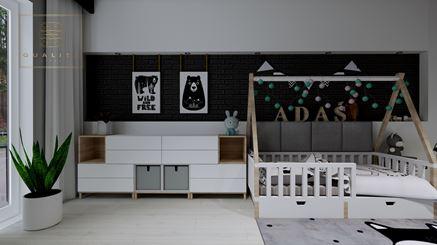 Biało-czarny pokoik małego chłopca