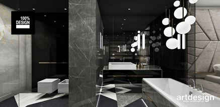 Czarny kamień w luksusowej łazience z wanną