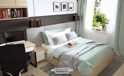 Sypialnia w bloku. Projekt biura Tworzywo