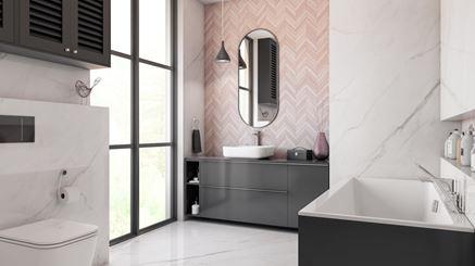 Marmur i drewniana jodełka w łazience