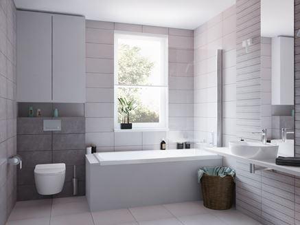Aranżacja łazienki w jasnoszarym kolorze