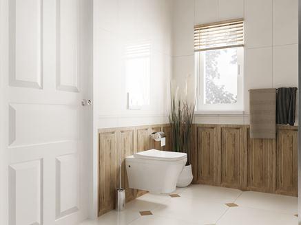 Biel i drewno i klasycznej łazience Tubądzin Royal Place