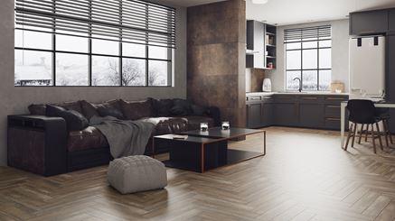 Stylowy salon z kuchnią w drewnie i kamieniu