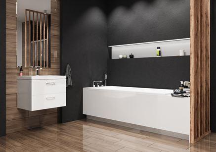 Elegancka łazienka z drewnem i czernią - Ceramika Gres Soho