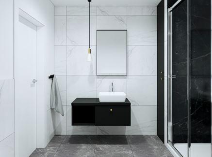 Mała łazienka z białym i czarnym marmurem