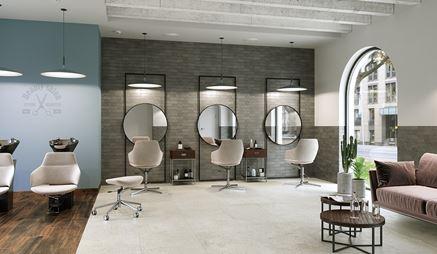 Salon fryzjerski z cegiełką