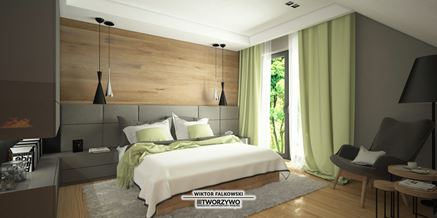 Ciepła sypialnia na poddaszu z dodatkiem zieleni