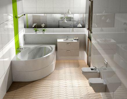 Biała łazienka z asymetryczną wanną