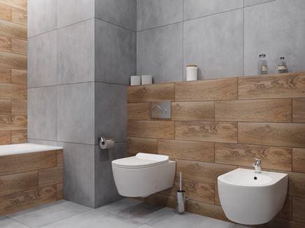 Łazienka w betonie i drewnie z białą ceramiką