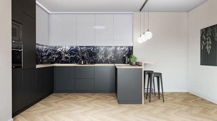 Nowoczesna czarno-biała kuchnia z dekoracyjną ścianą Azario Stone Negro