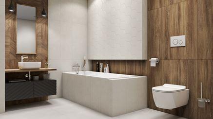 Łazienka w drewnie z białymi heksagonami
