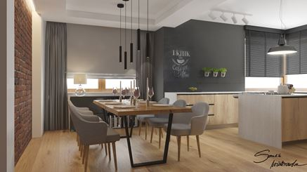 Jadalnia w nowoczesnej, otwartej kuchni