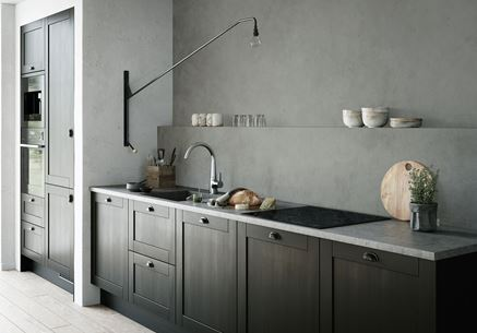 Aranżacja szarej kuchni z baterią Oras Inspera