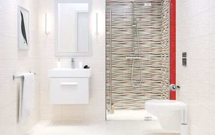 Biała łazienka z wyrazistymi dekorami