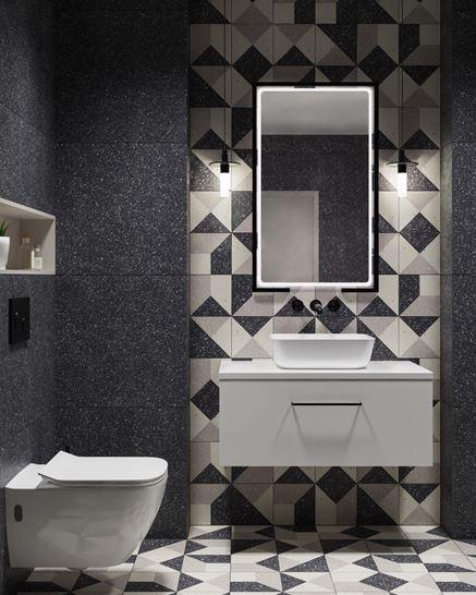 Aranżacja nowoczesnej toalety z kolekcją Paradyż Moondust