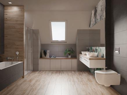 Aranżacja dużej łazienki na poddaszu