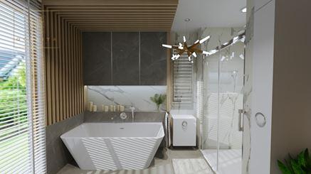 Wanna wolnostojąca i prysznic we wnęce - łazienka z oknem