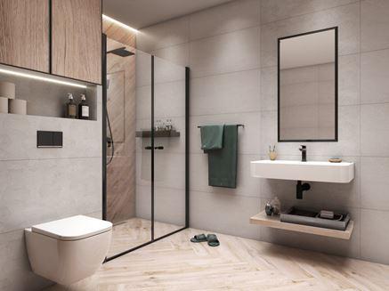 Szare płyty i drewniane akcenty łazience