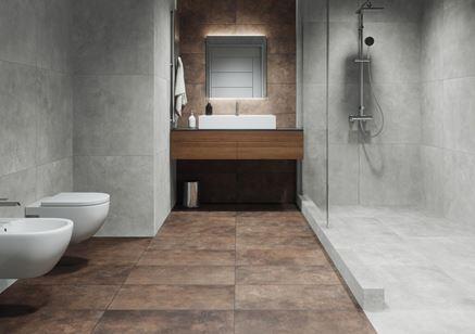 Łazienka w odcieniach brązu i szarości w kolekcji Cerrad Apenino