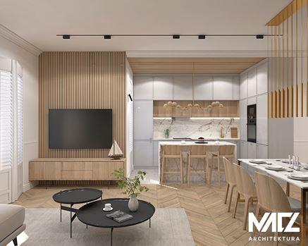 Otwarta kuchnia i salon z drewnianymi lamelami